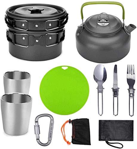XHLLX Camping Utensilios De Cocina, Maceta 2-3 Personas Tetera con Tablero De Corte De Taza, Vajilla Portátil para Cocinar Utensilios De Cubiertos De Viaje