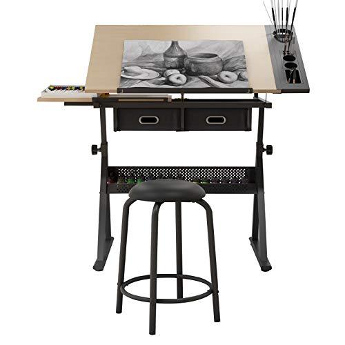 soges Mesa de Dibujo Ajustable Mesa de Dibujo Mesa de Dibujo Mesa de Pintura Estación de artesanía con Tablero inclinable y Taburete S1-CZKLD-026