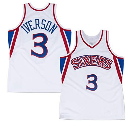 SHR-GCHAO Philadelphia 76Ers # 3 Iverson Baloncesto Jersey, Transpirable Deportes Camiseta, Adecuado para Ropa Deportiva, Regalos para Los Aficionados,L