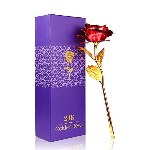 Konesky Long Stem 24k Rose Rot plattiert Rose Blume Folie Blume mit kostenlosen Geschenkbox Valentinstag, Muttertag, Geburtstag, Hochzeitszeremonie