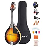 ADM Music A Style Acoustic Mandolin Instrument With Case Wood Mandolins Beginner Kit for Kids Adults, Sunburst