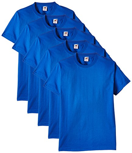 Fruit of the Loom Herren Regular Fit T-Shirt Heavy Cotton Tee Shirt 5 pack, Blau (Royal), L