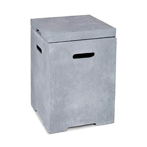 blumfeldt Gas Garage - Aufbewahrungs-Box für Gasbehälter, Material: Magnesia/MGO, Frostschutz, für Gasflaschen bis 8 kg, Maße: 41 x 56,5 x 41 cm (BxHxT), 12 kg, inkl. Regenschutz, Silbergrau