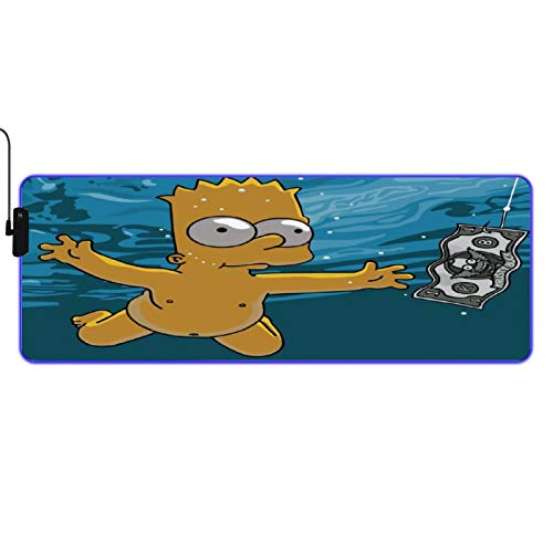 Bart Simpson Led Mouse Pad RGB Gaming Mouse Pad Non-Slip Desk Mat Large Keyboard Pad for Gaming Computer, Office Desk 31.5x11.8 inch