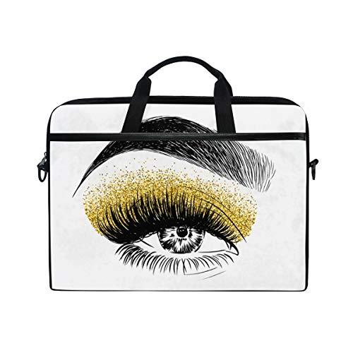 LOSNINA 15-15.4 inch Laptop Tasche,Gold Glitter Lidschatten Augen Make up,Neue Leinwand Drucken...