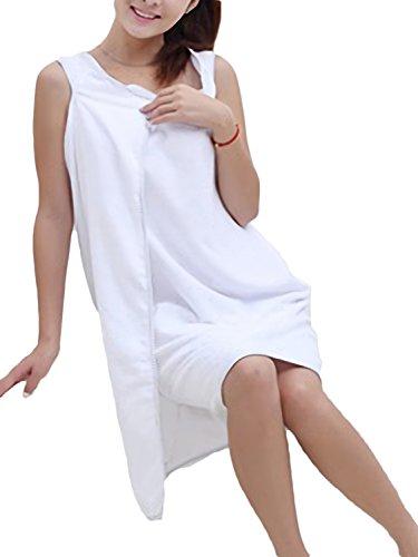 Azrte(アズルテ) ずり落ちない 着る バスタオル 巻き タオル ルームウェア バスローブ マイクロファイバー 1 ホワイト