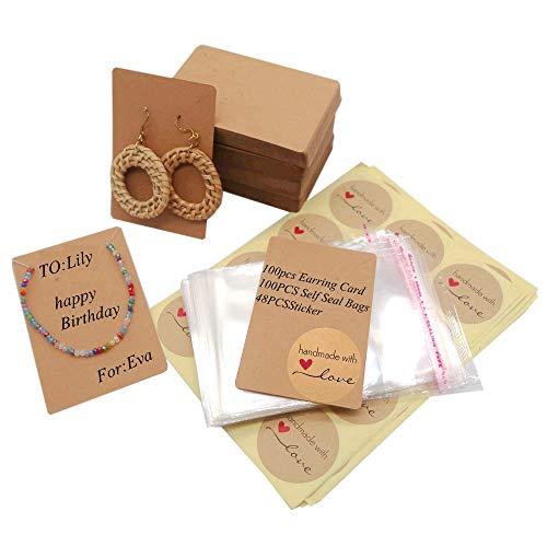 100 tarjetas de visualización de pendientes + 100 bolsas transparentes + 48 etiquetas de presentación de joyas hechas a mano