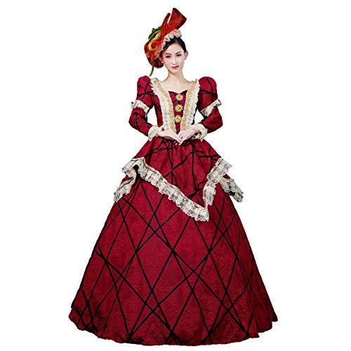 Viktorianisches Rokokoko-Ballkleid für Damen aus dem 18. Jahrhundert, Kostüm für Mädchen, Barock, Marie Antoinette - Rot - X-Klein