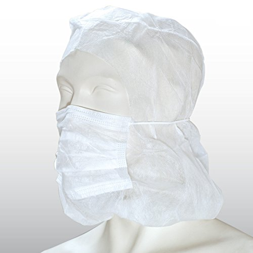 Astrohaube aus PP-Vlies - 50 Stück - weiß - mit integriertem 2-lagigen Mundschutz [Schwesternhauben - Astrohaube] - mit Stirngummi