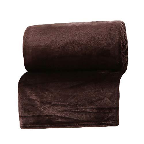 YALIXING Manta de microfibra de forro polar de franela para cama y sala de estar (color: marrón, tamaño: 70 x 100 cm)