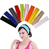 nuosen 10 Pcs Yoga Cotton Headbands, Elastic Stretch Headband For Women Girls Sports,Pilates, Fitness (Mixed Colors)