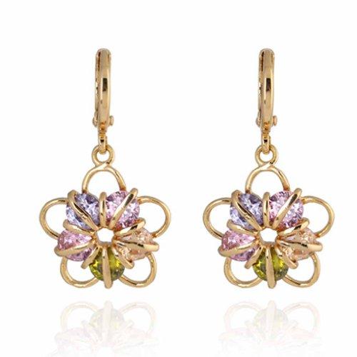 Yazilind 14K Encanto Gold Filled el diseño floral de los pendientes de gota colorido redondo Circonita cuelgan de la Mujer