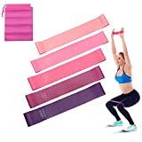 lifcasual 5PCS Resistance Band, Non-Toxic & Tasteless Silicone Exercise Elastic Band Set with Storage Bag, Multi-Functional Fitness Resistance Bands for Yoga Slimming Bodybuilding Indoor Outdoor