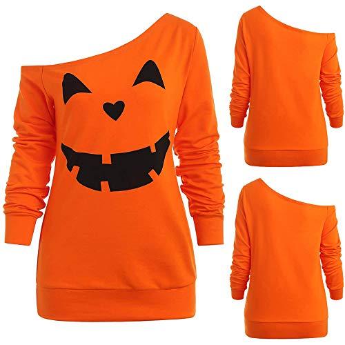 Yvelands Liquidation Femme Col Oblique Impression d'halloween Manches Longues Haut LâChe(XXL,Orange)