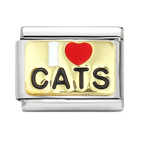 AKKi jewelry Italien Charms für Glieder-Armband in Edelstahl Classic Damen mit Silber Charm bausteine Italy Style Ichliebe Katzen