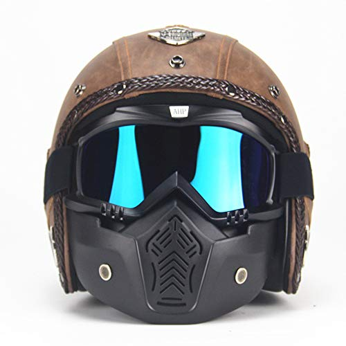 MRDEER Vintage Motorradhelm Retro Handgemachtes PU-Leder Integralhelm Helm Unisex Full-face Scooter-Helm Roller Sturz-Helm mit Visier, Maske, Brille(M,L,XL,XXL),Brown,M
