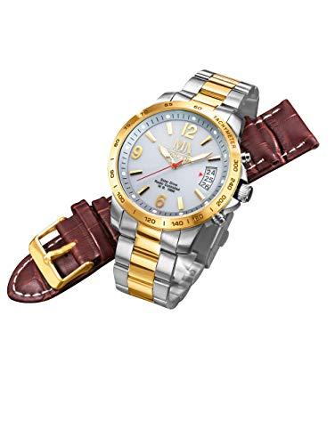 Meister Anker Herren Funk-Solaruhr mit Edelstahl-Armband – Armbanduhr inkl. Wechsel-Band, Analog-Uhr mit wasserdichtem Gehäuse, in Bicolor