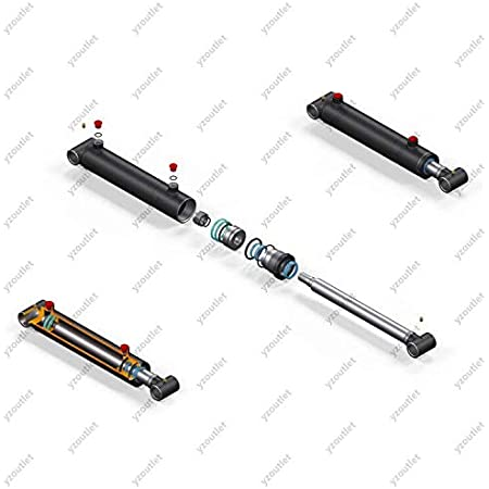 Hydraulic Cylinder Double Acting DW Cylinder 50//28 350 Hub with articulated eyes 25mm