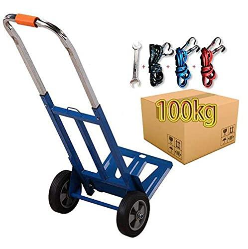 Capacidad de carga de 100 kg para trabajo pesado, plegable, plegable, de mano, carretilla, carretilla, carretilla, almacén industrial, carretilla de mano, carretilla, para equipaje, viajes, oficina en