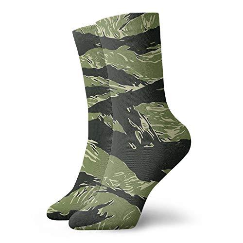 Vietnam Tiger Stripe Camo Warm Outdoor Hiking Crew Calcetines de 30 cm para todas las estaciones, calcetines deportivos para hombres y mujeres
