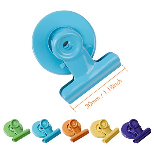 Magnetic Metal Clips 20 Pack, Colored Fridge Magnet Clips for Refrigerator, Organizing& Decorating, Whiteboard Magnetic Clips for School, Office, 30mm Wide Photo #2