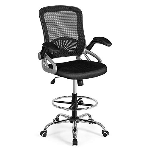 Giantex Mesh Drafting Chair, Standing Desk Stool with Lumbar Support, Adjustable Counter Height Office Chair w/Flip Up Arms & Footrest Ring, Sit Stand Chair Tall Office Chair