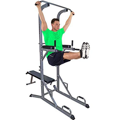 ScSPORTS Gymtower® Kraftturm mit Hantelbank, Dip-Station, Klimmzugstange/Kraftstation klappbar - perfekt für´s Home-Gym