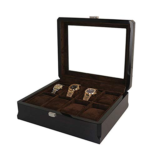 FIONAT Watch Box Jewelry Boxes Men Women Gift 3/6/8/12/18-Digit Woodenen Painted Watch Case with Glass Sunroof Watch Display Storage Box-8 Compartments
