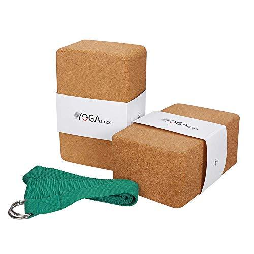 JBM Cork Yoga Block plus Strap with Metal D-Ring Yoga Brick Cork Block - High Density Cork Yoga...