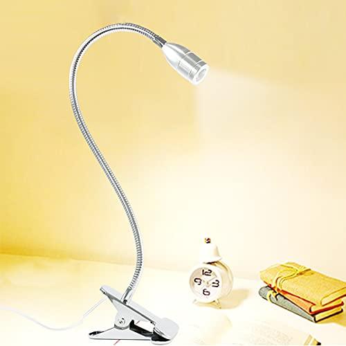 QEGY USB Lámpara con Pinza para Cabecero, 360 ° Flexible Luz de Lectura con Clip Brillos Regulable, Lámpara Libro Protección Ocular para Libro, Estudio y Trabajo, Blanco Neutro 4000K