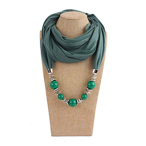 hearsbeauty Monili Unici della Collana della Sciarpa del Giunto Circolare di Colore Solido del Pendente delle Perle Rotonde delle Donne Uniche di Modo Army Green