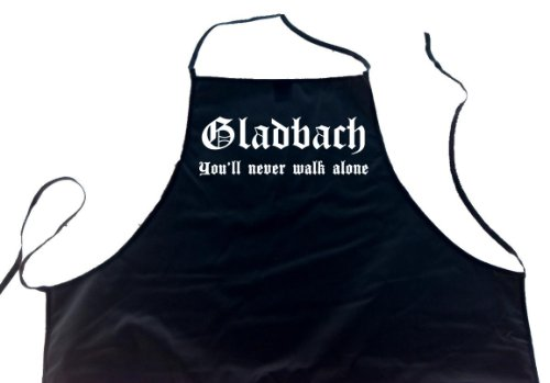 ShirtShop-Saar Gladbach - You'll Never Walk Alone; Schürze (Latzschürze - Grillen, Kochen, Berufsbekleidung, Kochschürze), schwarz
