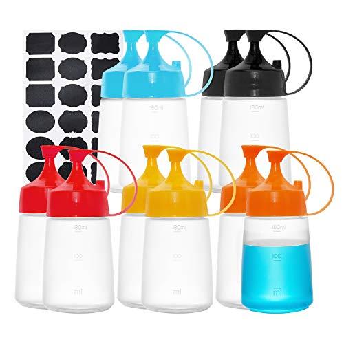 BENECREAT 10 Pack 180ml Botellas Exprimibles de Salsa de Plástico 10 Colores con Tapa de Hebilla Botellas Vacías con Etiqueta para Dispensadores de Condimentos y Aceite de Oliva