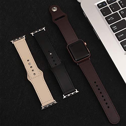 Oowaga Aplicable Apple Watch con iwatchs con bucle tipo hebilla de color sólido correa de cuero de los hombres (01 beige 38/40)