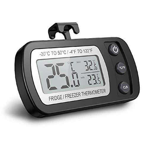 LIRDUX Termometro Digitale del Frigorifero, termometro Digitale Impermeabile con Gancio, Display LCD Facile da Leggere, Funzione di Registrazione Massima/Minima, Ideale per la casa, ristoranti, caffè