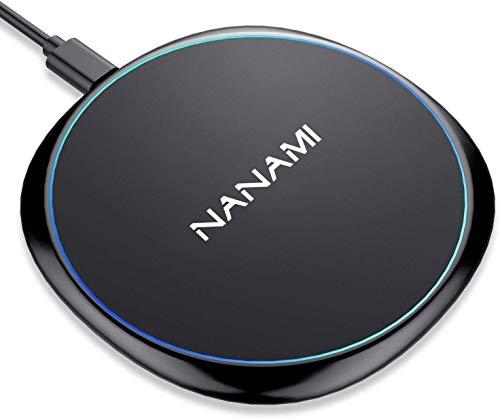 NANAMI Cargador inalámbrico de 7.5W para iPhone 12/11/X/XS/XS Max/XR/8/8 Plus,Certificado Qi,Base de Cargador rápido Ultra Delgado de 10W para Galaxy S20/S10/S10+/S9/S9+/S8/S8+/S7,Samsung Note 10/9/8