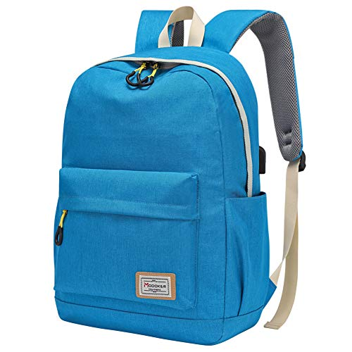 Modoker Teens Backpack Girls Boys School Bag with USB Charging Port, Travel Laptop Backpack Rucksack for Womens Mens, Durable Bookbags In Blue
