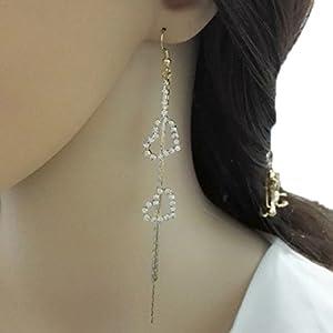 YABINA Long Tassel Luxury Love Crystal Dangling Earrings Jewelry Accessories (Gold) (Gold)