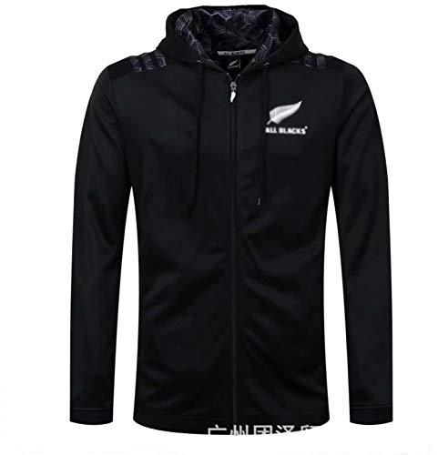 Rùgby Jérsey Camiseta De Entrenamiento Familiar All Blacks 2018 Para Hombre Adulto Cómoda Y Transpirable Se Puede Usar Para Regalos De Cumpleaños,Black-L