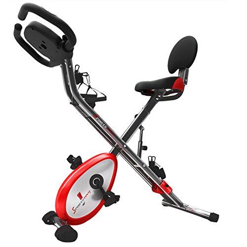 Sportstech Heimtrainer F-Bike X100und X1504in1Home Trainer Fahrradtrainer Heimtrainer, X-Bike für Erwachsene, Griffe mit Pulsuhr, Zugseile, Halterung für Tablet, Ergometer, X150