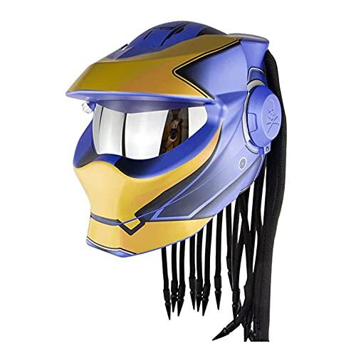 TR-yisheng Predator Motorradhelm Integralhelm, M/L/XL Persönlichkeit Retro mit LED-Leuchten schmutzige Zöpfe Quasten Klapplinse Antikollisionshelm Mehrfarbig optional
