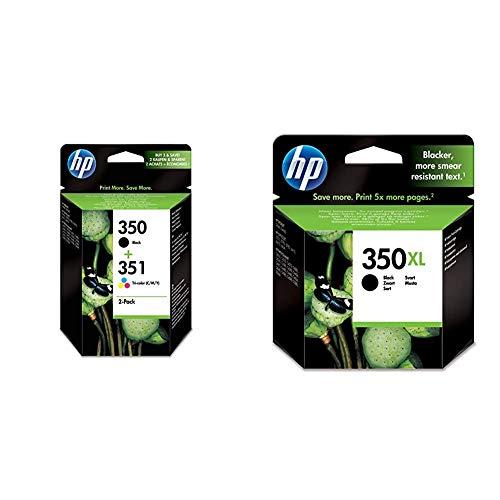 HP 350-351 Pack de ahorro de 2 cartuchos de tinta Original HP 350 Negro, HP 351 Tricolor para OfficeJet y PhotoSmart + CB336EE 350XL Cartucho de Tinta Original de alto rendimiento, 1 unidad, negro