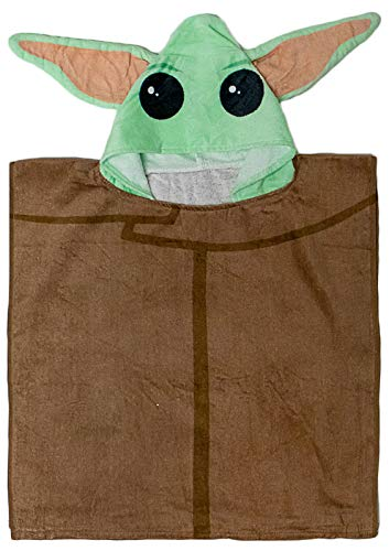 Star Wars The Mandalorian The Child - Baby Yoda Kids Bath/Pool/Beach Hooded Poncho - Super Soft & Absorbent Cotton Towel, Measures 22 x 22 Inch (Official Star Wars Product)