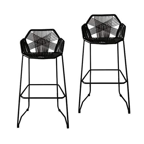 HOME-MJJ Patio al Aire Libre Sillas de Mimbre Moderna Simplicidad Café Bistro Mesa Resistente a los Rayos UV Ratán Mostrador Bar Cómodo Simple Hermoso (Color : Black)