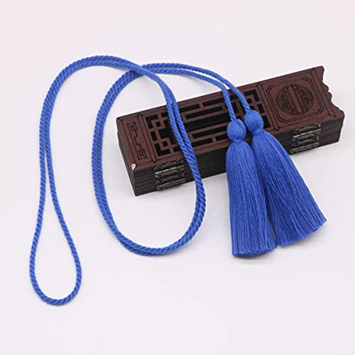 2 Piezas de Doble Extremo Largo 134 cm Tieback borlas Flecos Manualidades de Bricolaje joyería Cortina Prendas de Vestir decoración cordón de Seda Cinta de Cuerda borlas Colgante-borlas Azules
