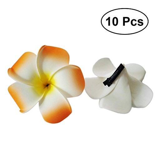 Amosfun 10 pcs Wommen Hawaiian Plumeria Épingles à Cheveux Décorations Été Plage Fleur Cheveux Clips pour la Décoration De Fête De Mariage Décoration de La Maison (Couleur Assortie)