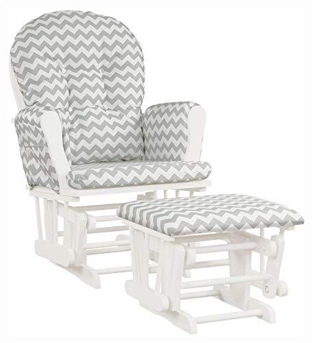 HomyDelight Rocking Chair, Baby Nursery Relax Rocker Rocking Chair Glider & Ottoman Set, Stripe