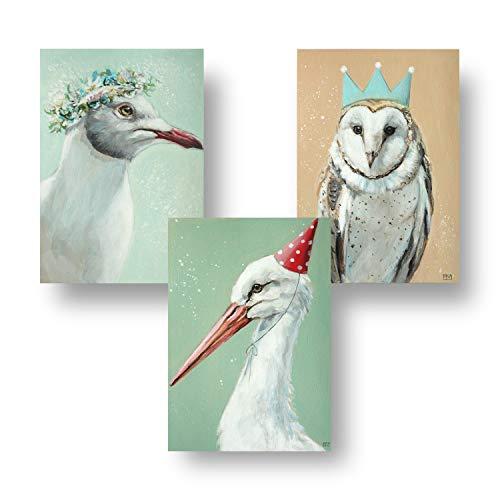 Poster für Kinderzimmer im skandinavischen Stil - Deko Babyzimmer für Mädchen und Jungen - DIN A4 Kinderposter Set mit Tieren - Bilder mit Möwe, Eule und Storch