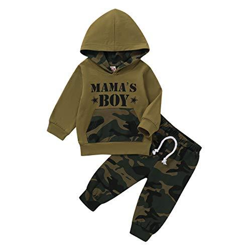 Bebé Niños Camuflaje Sudaderas Conjunto Divertida Carta Manga Larga Tops Pantalones Otoño Invierno Conjunto 0-3Y