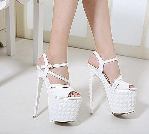 GTVERNH-blanc Bon DocuHommestaire Chaussures Chaussures Chaussures Nightclub Passerelle Montre Très Hauts Talons Sandales à Fines  belle
